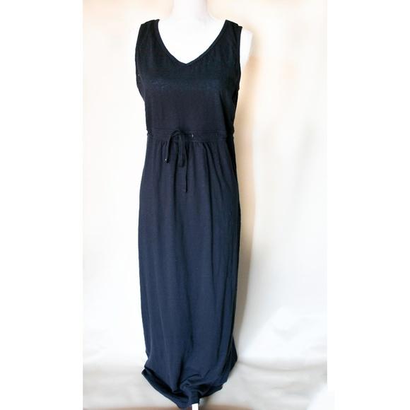 fccab338507 Eddie Bauer Dresses & Skirts - Eddie Bauer Maxi Dress Drawstring Knit Navy  ...